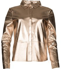 gouden leren blouse dita  goud