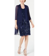 r & m richards sequin embroidered dress & duster jacket