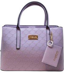 bebe aubrey emboss satchel with card case