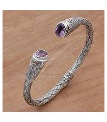 gold accent amethyst cuff bracelet, 'bamboo wicker' (indonesia)