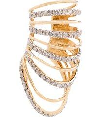yvonne léon 18k yellow gold multi hoop diamond ear cuff - metallic