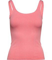 bubblegum washed ribbed singlet t-shirts & tops sleeveless rosa aim'n
