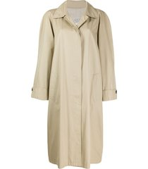 gucci pre-owned 1980's concealed fastening loose midi coat - metallic