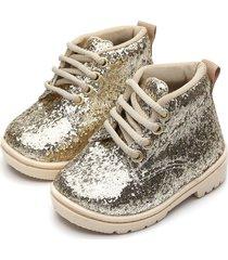 bota coturno tricae infantil glitter dourado