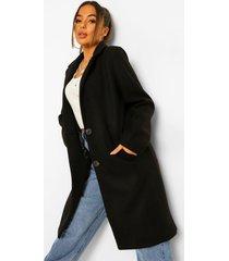 petite lange nepwollen jas, black