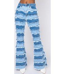 akira fringe benefits patchwork high rise flare jeans