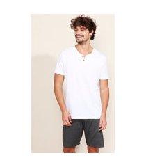pijama masculino manga curta gola portuguesa branco
