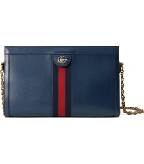 gucci mediumleather shoulder bag - blue