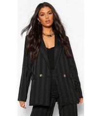 lange blazer met metallic streep, black