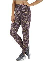 calça legging oxer estampa onzi - feminina - roxo esc/amarelo