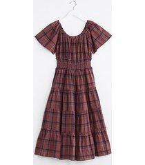 lou & grey plaid ruffle maxi dress