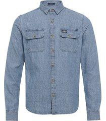 merchant milled lite l/s shirt overhemd casual blauw superdry