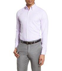 men's eton soft casual line slim fit oxford shirt, size 17 - purple