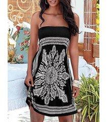 midi sexy sin tirantes con estampado tribal negro vestido