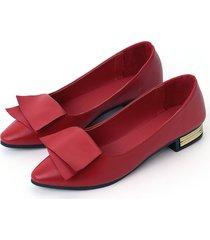 red fashion plain soft flats