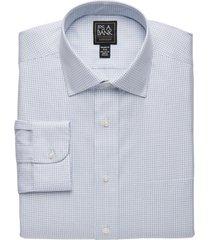 jos. a. bank men's traveler collection tailored fit spread collar tattersall dress shirt - big & tall clearance, grey, 18x34 big