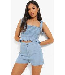 petite geplooide spijkertop met schouderstrikjes, light blue