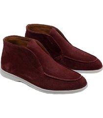 hon shoes high top burgundy suede rood