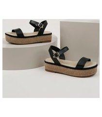 sandália feminina beira rio flatform com corda preta
