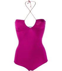 forte forte fitted halterneck bodysuit - purple