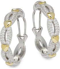 14k goldplated sterling silver, cubic zirconia & diamonique hoop earrings