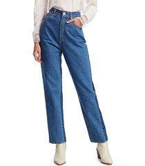 sandro women's dual high-rise jeans - blue - size 42 (10-12)
