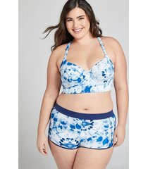 lane bryant women's strappy-back longline swim bikini top with balconette bra 46c navy tie dye