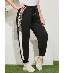 yoins plus tamaño black bolsillo con cordón de leopardo pantalones