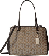 coach 36912 khaki signature brown leather stanton large carryall satchel nwt