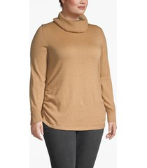 lane bryant women's side-ruched cowl-neck sweater 14/16 camel heather