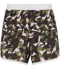 fendi bag bugs camouflage-print swim shorts - green