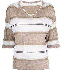 brunello cucinelli horizontal-stripe v-neck t-shirt - brown