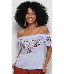 blusa extin ombro a ombro listrada bordada feminina