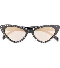 moschino eyewear crystal embellished sunglasses - black