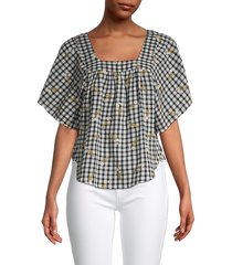 madewell women's embroidered gingham butterfly top - shirt wall - size m