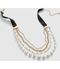 lane bryant women's pearl & chain ribbon necklace onesz pearl