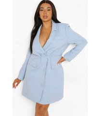 plus blazer jurk met strik, light blue