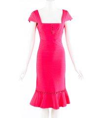 herve leger muriel twist pink bandage dress pink sz: s