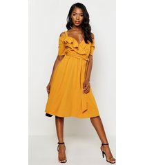 cold shoulder ruffle belted midi dress, mustard