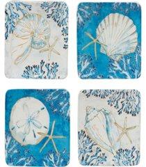 playa shells set of 4 canape plates