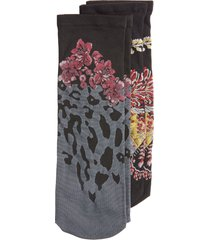 women's natori pack of 2 floral & leopard ankle socks, size one size - black