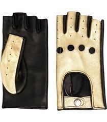 manokhi fingerless leather gloves - gold