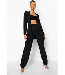 oversized broek met dubbele taille, black