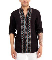 inc international concepts men's embroidered popover shirt, created for macy's