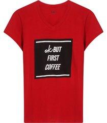 camiseta mujer ok but first coffe color rojo, talla l