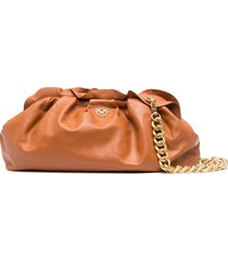 pinko ruched clutch bag - brown