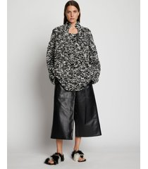 proenza schouler crochet knit oversized sweater black/white multi xl