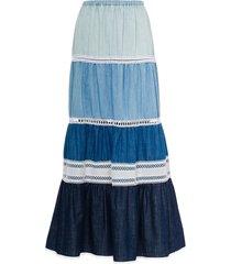 miu miu chambray denim maxi skirt - blue