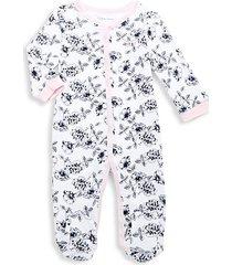 baby girl's floral-print footie