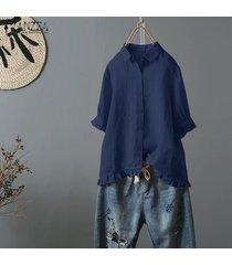 zanzea las mujeres de manga corta de botones en tapas de la camisa floja ocasional del volante de la blusa hem plus -azul marino